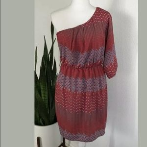 66aa856496 Needle   Thread Red Abstract One Shoulder Dress